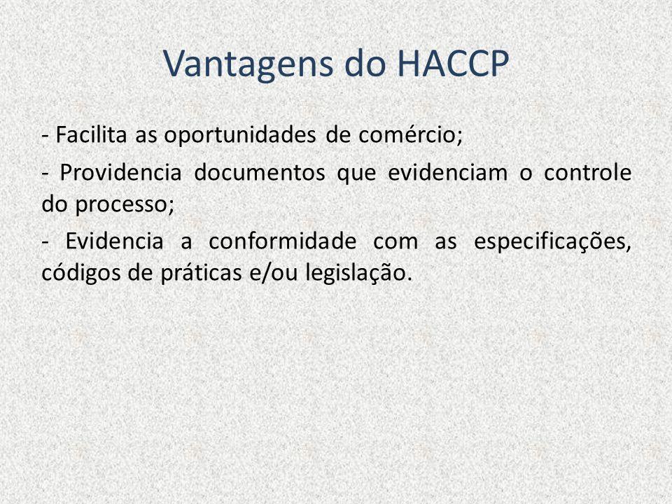 Vantagens do HACCP - Facilita as oportunidades de comércio; - Providencia documentos que evidenciam o controle do processo; - Evidencia a conformidade