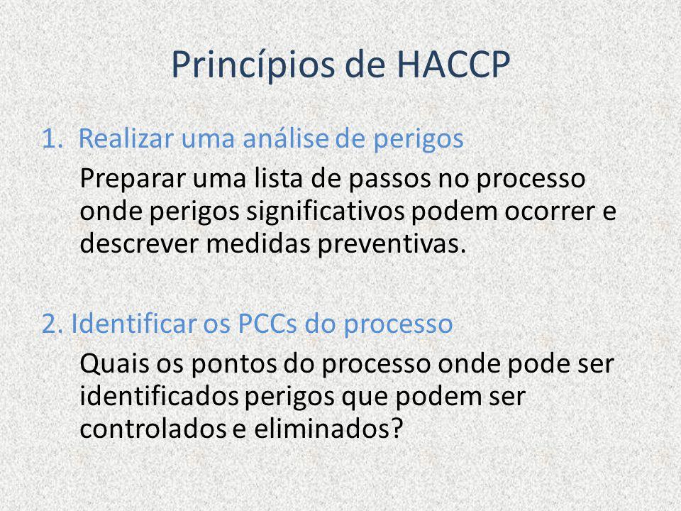 Princípios de HACCP 1. Realizar uma análise de perigos Preparar uma lista de passos no processo onde perigos significativos podem ocorrer e descrever