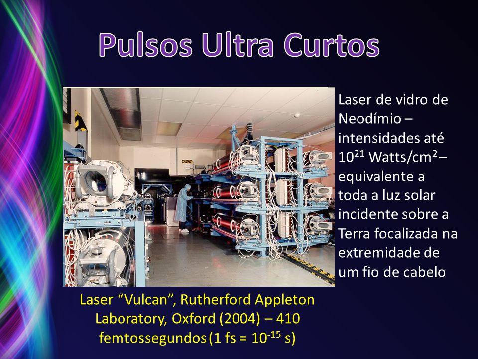 Laser Vulcan, Rutherford Appleton Laboratory, Oxford (2004) – 410 femtossegundos (1 fs = 10 -15 s) Laser de vidro de Neodímio – intensidades até 10 21