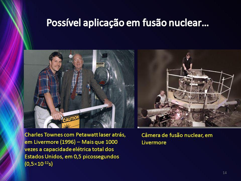 Charles Townes com Petawatt laser atrás, em Livermore (1996) – Mais que 1000 vezes a capacidade elétrica total dos Estados Unidos, em 0,5 picossegundo