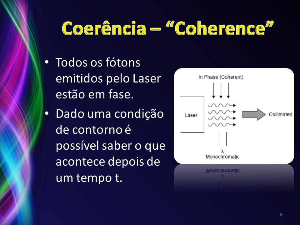 Todos os fótons emitidos pelo Laser estão em fase. Dado uma condição de contorno é possível saber o que acontece depois de um tempo t. 6