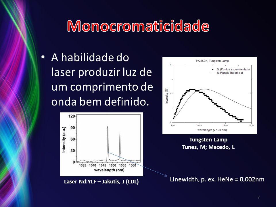 A habilidade do laser produzir luz de um comprimento de onda bem definido. 7 Laser Nd:YLF – Jakutis, J (LDL) Tungsten Lamp Tunes, M; Macedo, L Linewid