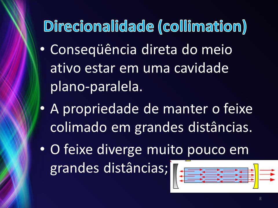 Conseqüência direta do meio ativo estar em uma cavidade plano-paralela. A propriedade de manter o feixe colimado em grandes distâncias. O feixe diverg