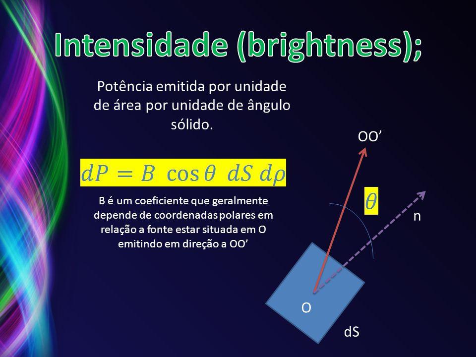 Potência emitida por unidade de área por unidade de ângulo sólido. B é um coeficiente que geralmente depende de coordenadas polares em relação a fonte