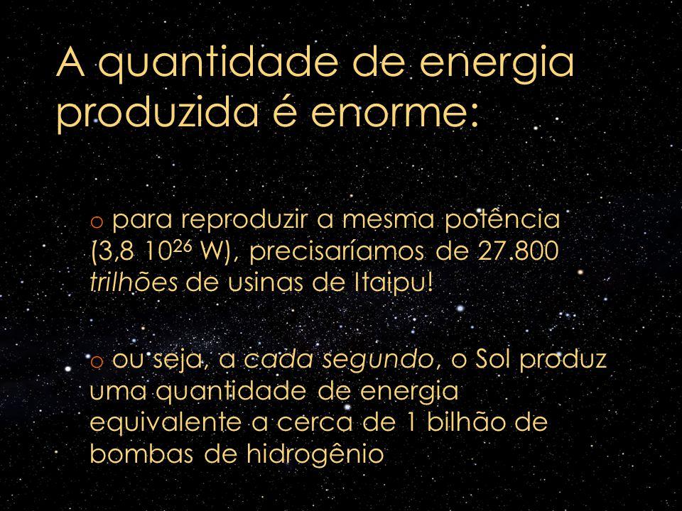 A quantidade de energia produzida é enorme: o para reproduzir a mesma potência (3,8 10 26 W), precisaríamos de 27.800 trilhões de usinas de Itaipu! o