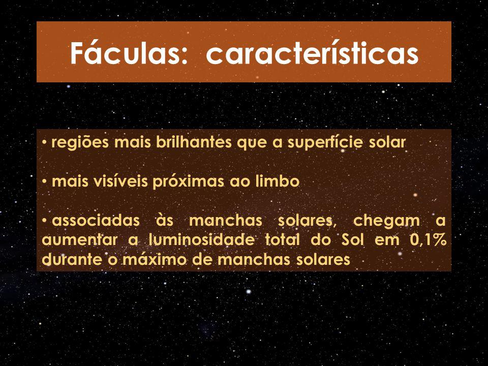 regiões mais brilhantes que a superfície solar mais visíveis próximas ao limbo associadas às manchas solares, chegam a aumentar a luminosidade total d