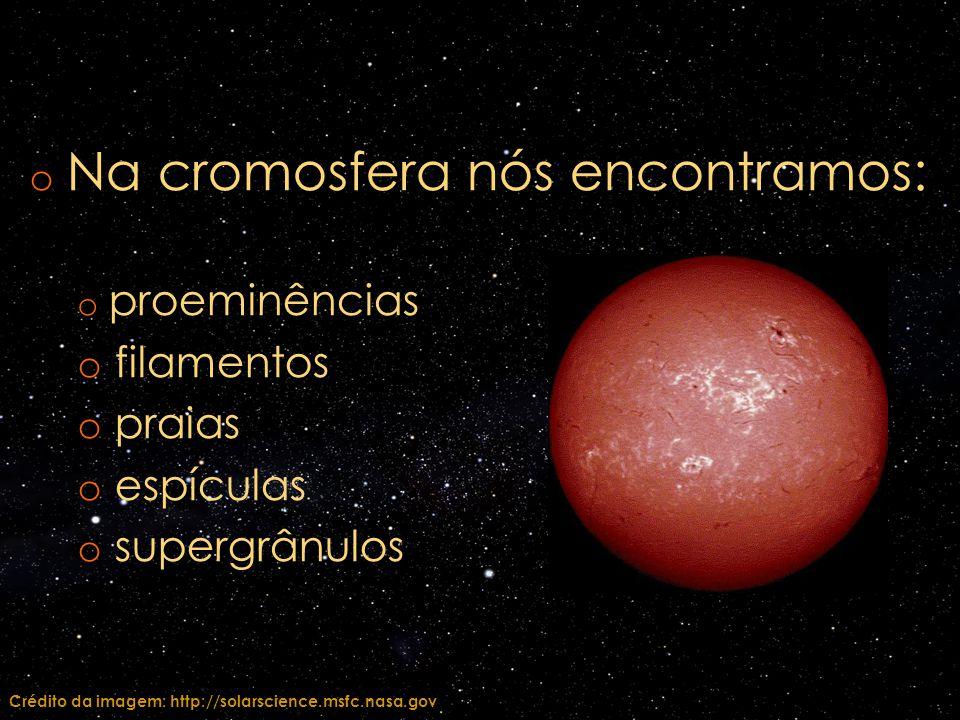 o Na cromosfera nós encontramos: o proeminências o filamentos o praias o espículas o supergrânulos Crédito da imagem: http://solarscience.msfc.nasa.go