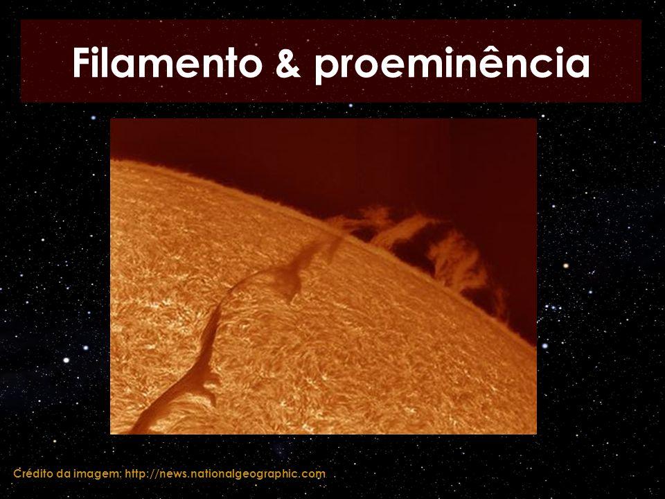 Filamento & proeminência Crédito da imagem: http://news.nationalgeographic.com