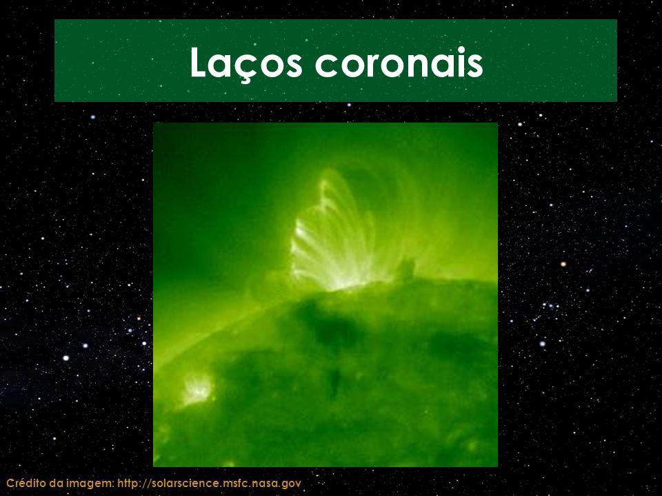 Crédito da imagem: http://solarscience.msfc.nasa.gov Laços coronais