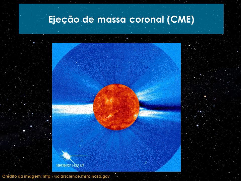 Ejeção de massa coronal (CME) Crédito da imagem: http://solarscience.msfc.nasa.gov
