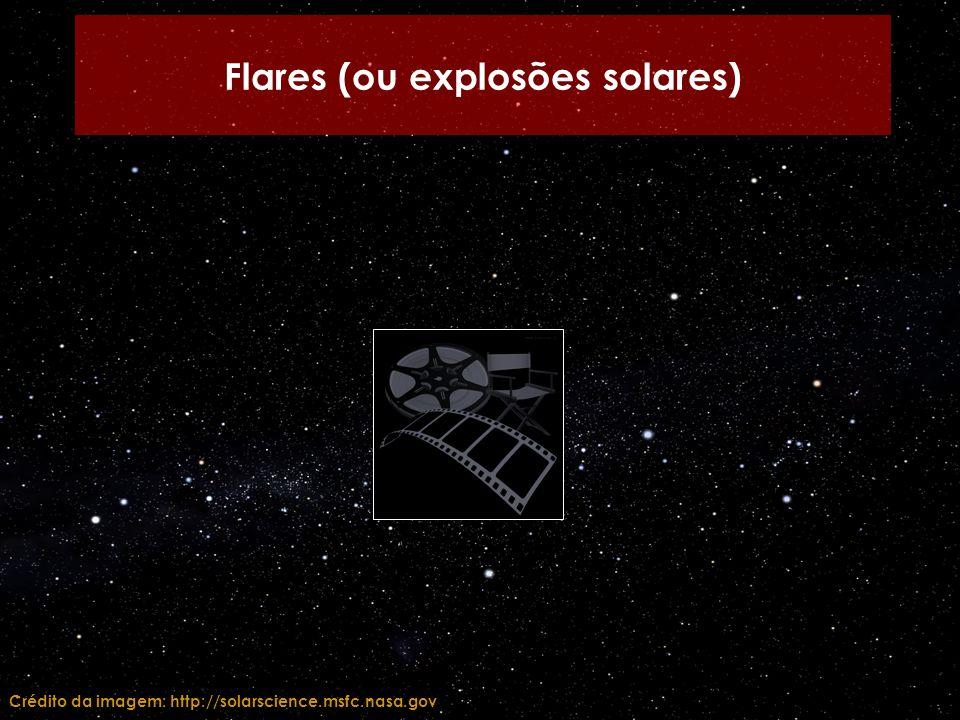 Flares (ou explosões solares) Crédito da imagem: http://solarscience.msfc.nasa.gov
