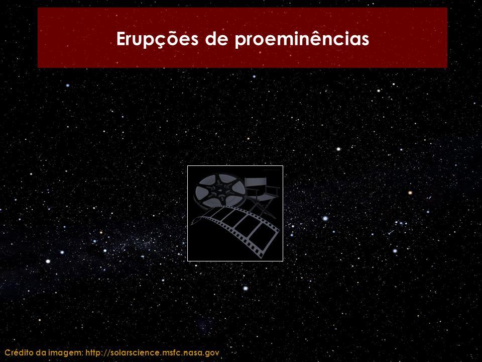 Erupções de proeminências Crédito da imagem: http://solarscience.msfc.nasa.gov