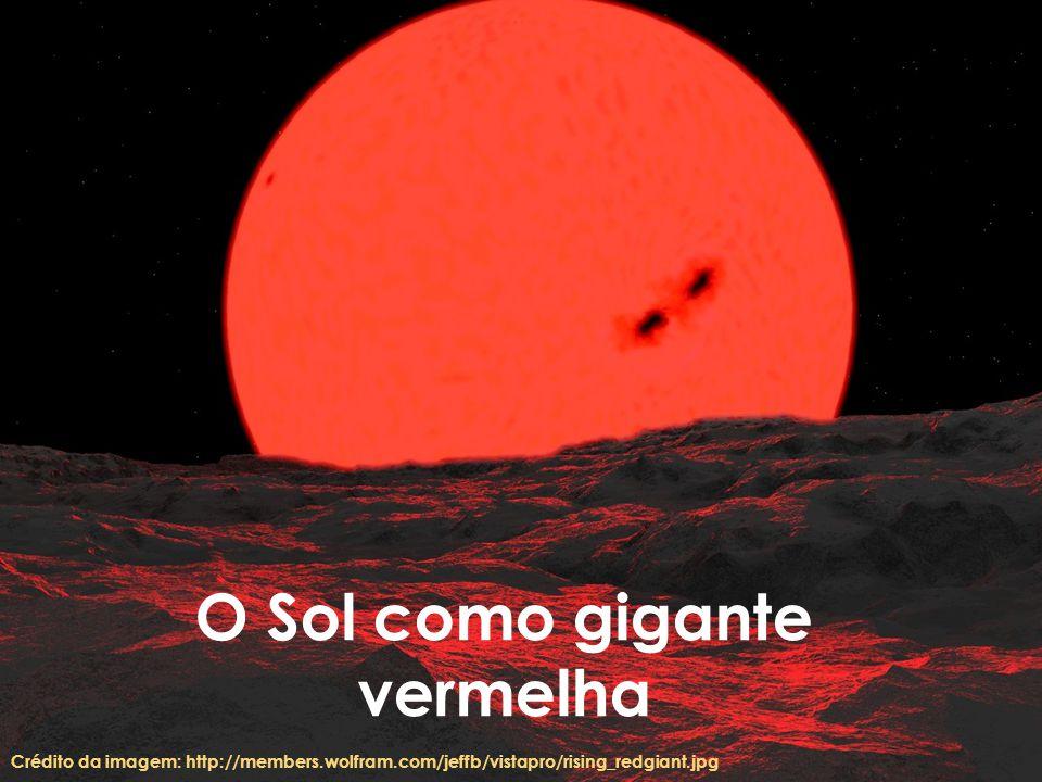 O Sol como gigante vermelha Crédito da imagem: http://members.wolfram.com/jeffb/vistapro/rising_redgiant.jpg