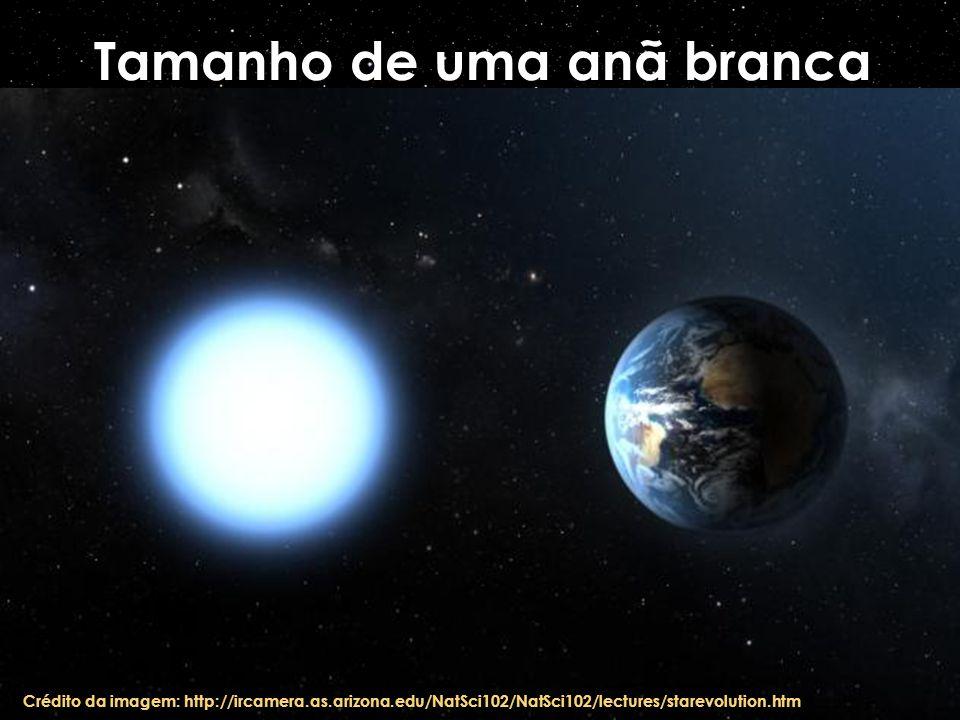 Tamanho de uma anã branca Crédito da imagem: http://ircamera.as.arizona.edu/NatSci102/NatSci102/lectures/starevolution.htm
