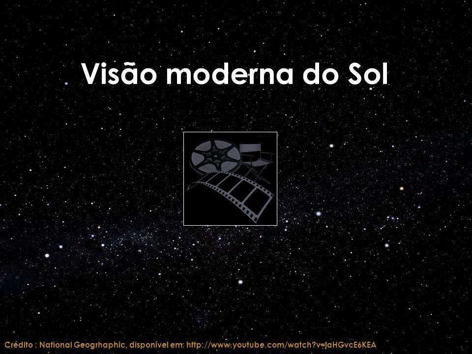 Visão moderna do Sol Crédito : National Geogrhaphic, disponível em: http://www.youtube.com/watch?v=jaHGvcE6KEA