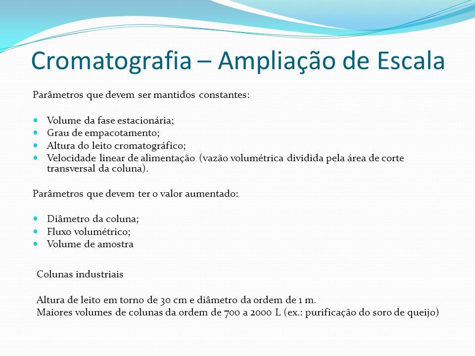 Parâmetros que devem ser mantidos constantes: Volume da fase estacionária; Grau de empacotamento; Altura do leito cromatográfico; Velocidade linear de