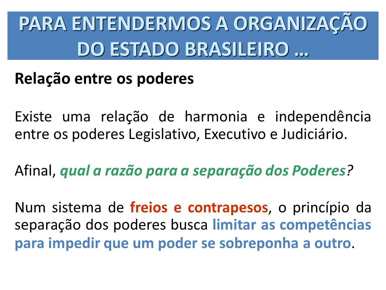 PARA ENTENDERMOS A ORGANIZAÇÃO DO ESTADO BRASILEIRO … Relação entre os poderes Existe uma relação de harmonia e independência entre os poderes Legisla