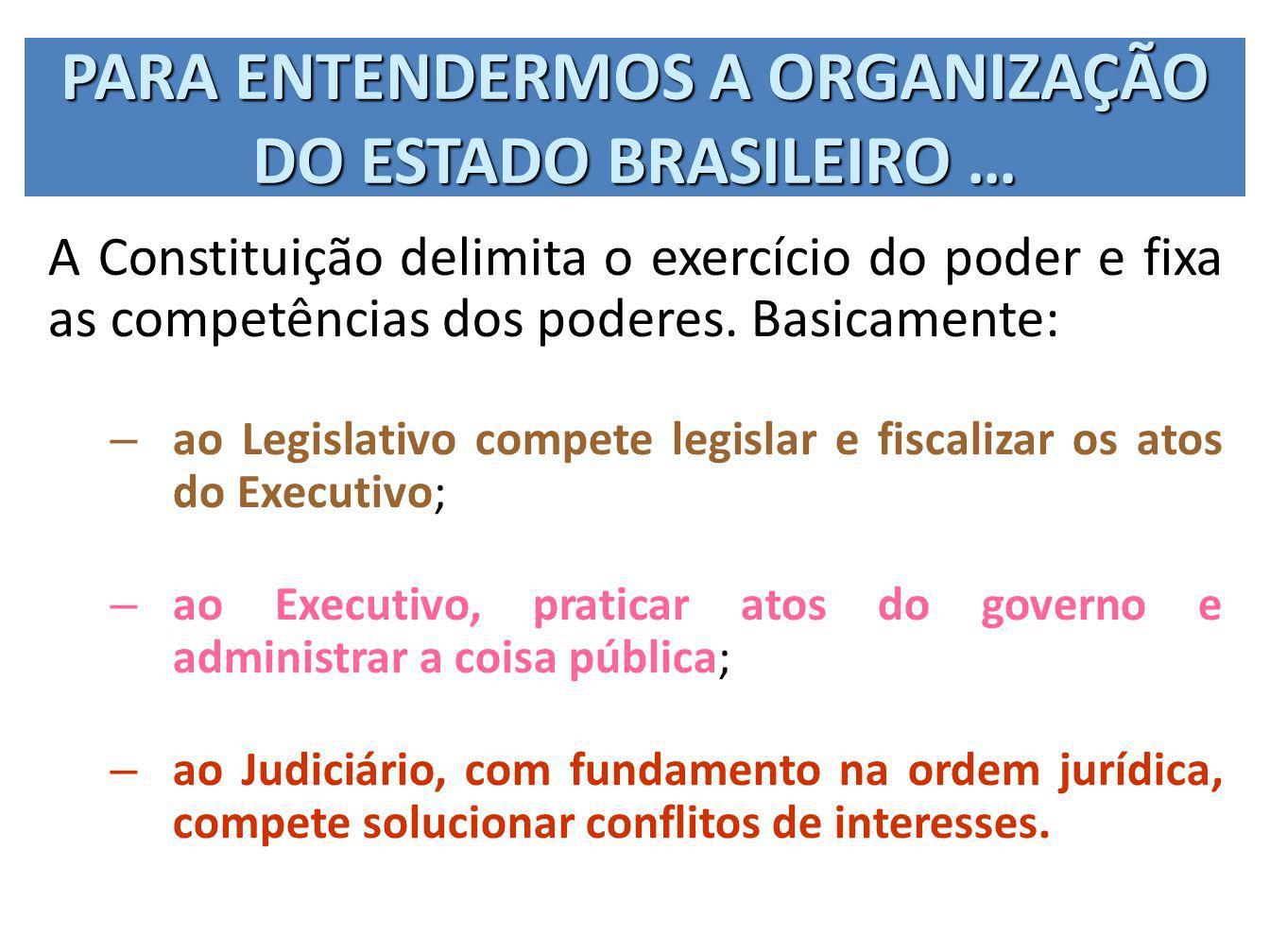 PARA ENTENDERMOS A ORGANIZAÇÃO DO ESTADO BRASILEIRO … A Constituição delimita o exercício do poder e fixa as competências dos poderes. Basicamente: –