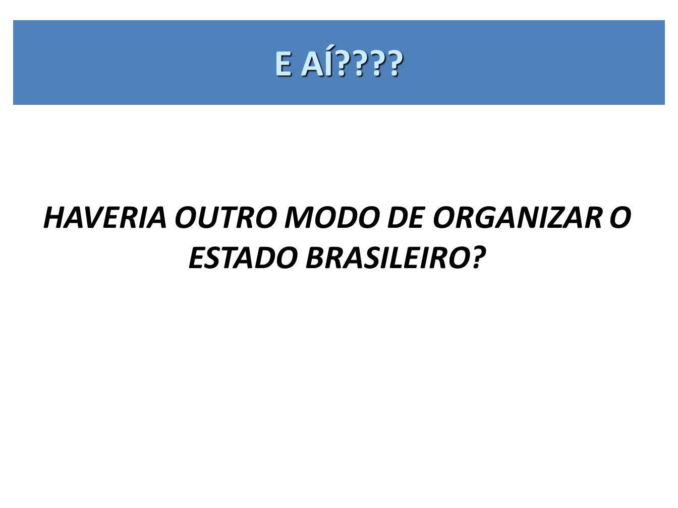 E AÍ???? HAVERIA OUTRO MODO DE ORGANIZAR O ESTADO BRASILEIRO?