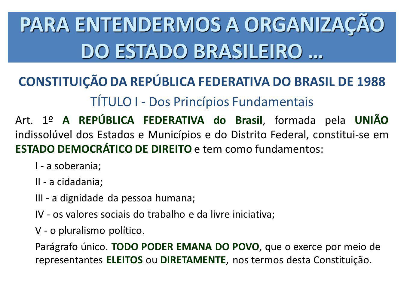 CONSTITUIÇÃO DA REPÚBLICA FEDERATIVA DO BRASIL DE 1988 TÍTULO I - Dos Princípios Fundamentais Art. 1º A REPÚBLICA FEDERATIVA do Brasil, formada pela U