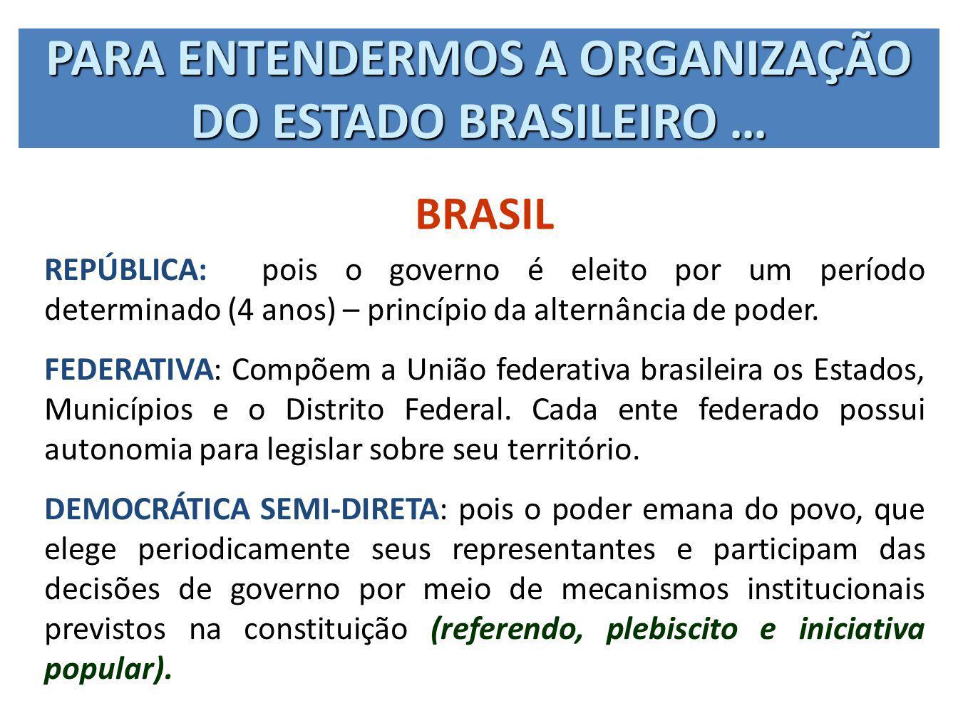 PARA ENTENDERMOS A ORGANIZAÇÃO DO ESTADO BRASILEIRO … BRASIL REPÚBLICA: pois o governo é eleito por um período determinado (4 anos) – princípio da alt