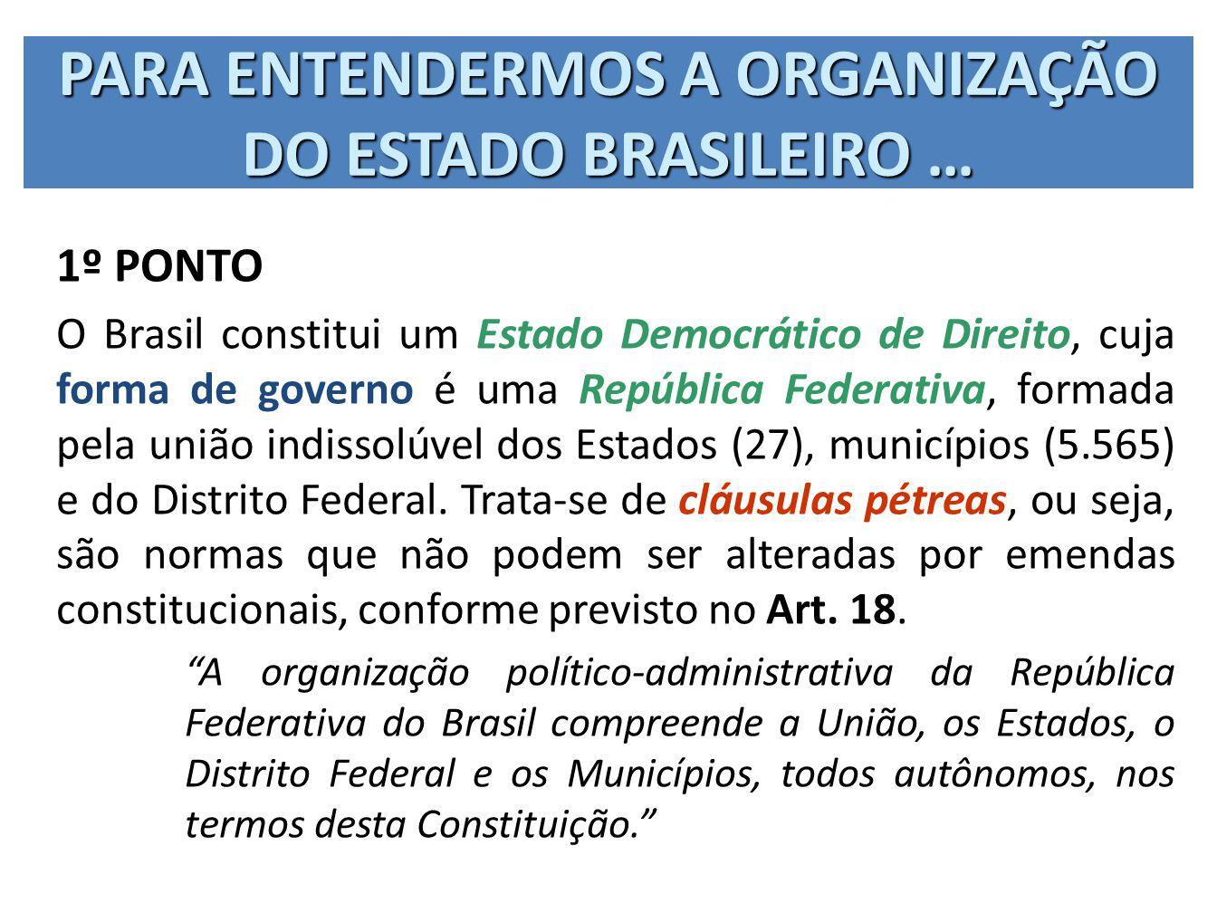 PARA ENTENDERMOS A ORGANIZAÇÃO DO ESTADO BRASILEIRO … 1º PONTO O Brasil constitui um Estado Democrático de Direito, cuja forma de governo é uma Repúbl