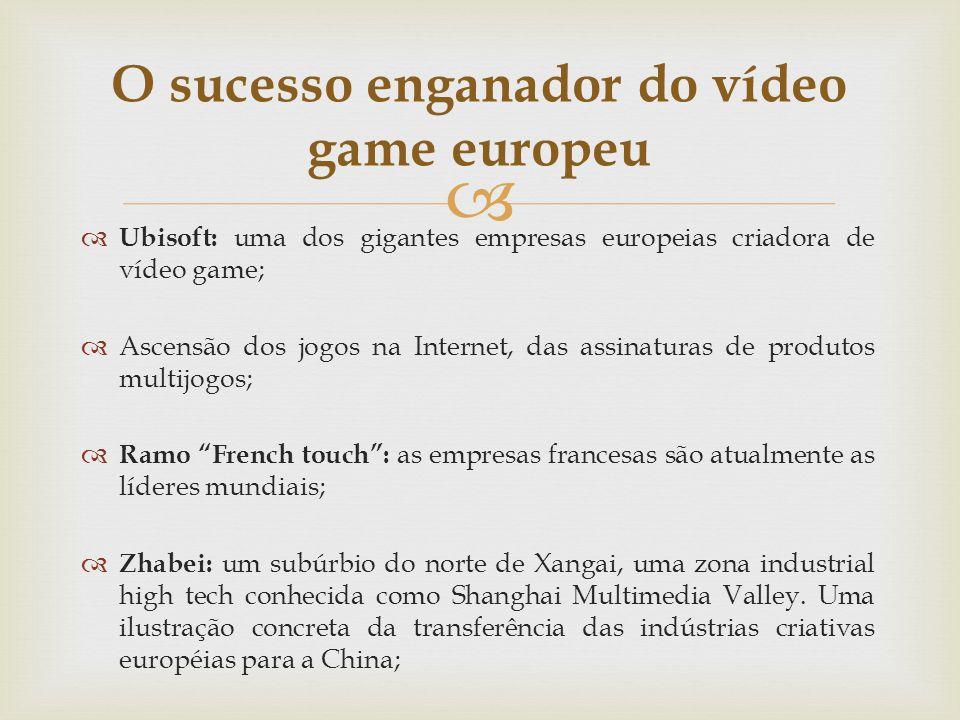 Ubisoft: uma dos gigantes empresas europeias criadora de vídeo game; Ascensão dos jogos na Internet, das assinaturas de produtos multijogos; Ramo Fren