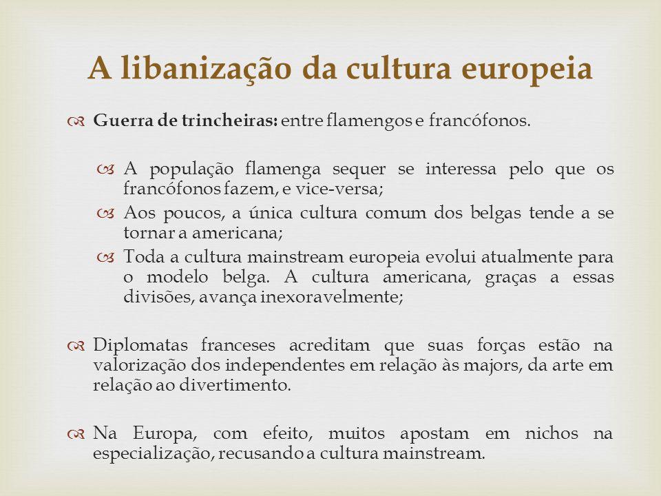 A libanização da cultura europeia Guerra de trincheiras: entre flamengos e francófonos. A população flamenga sequer se interessa pelo que os francófon