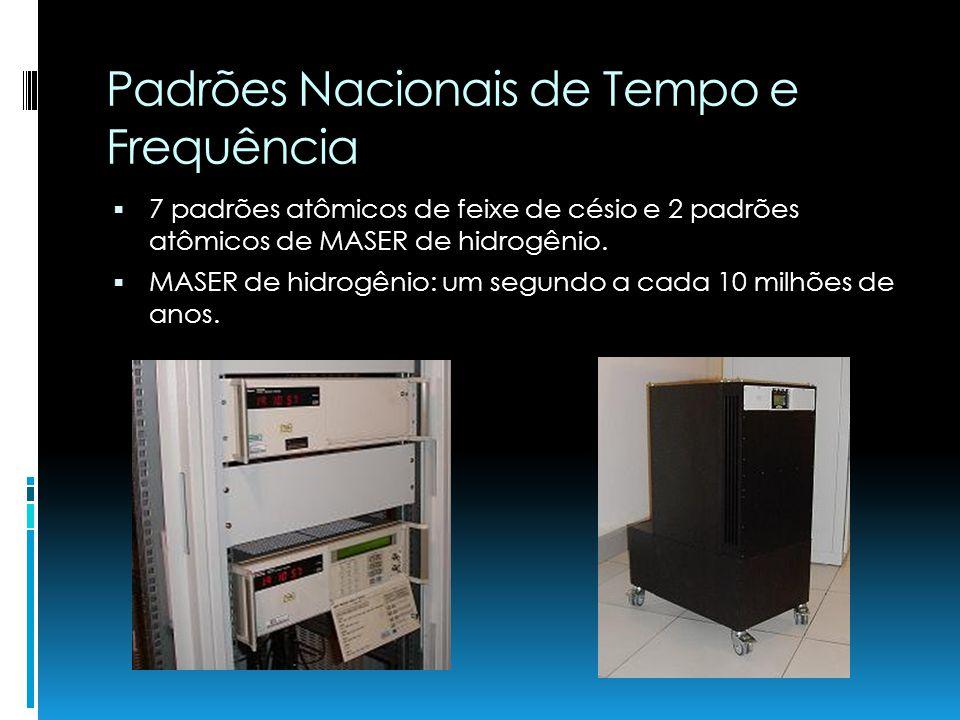 Padrões Nacionais de Tempo e Frequência 7 padrões atômicos de feixe de césio e 2 padrões atômicos de MASER de hidrogênio. MASER de hidrogênio: um segu