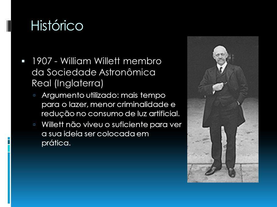 Histórico 1907 - William Willett membro da Sociedade Astronômica Real (Inglaterra) Argumento utilizado: mais tempo para o lazer, menor criminalidade e