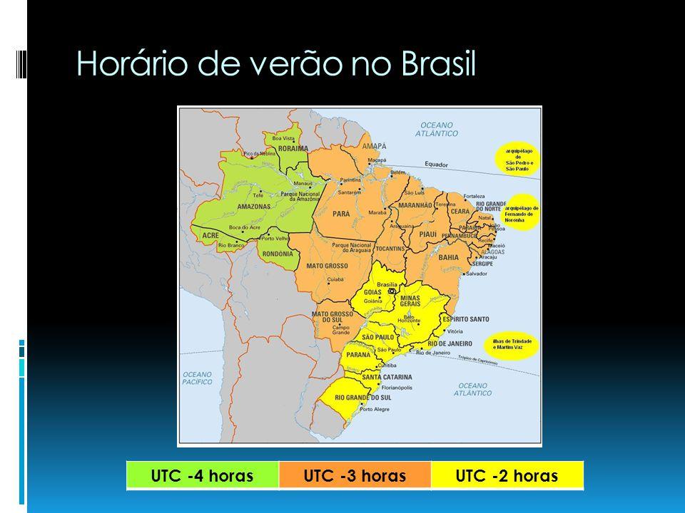 Horário de verão no Brasil UTC -4 horasUTC -3 horasUTC -2 horas
