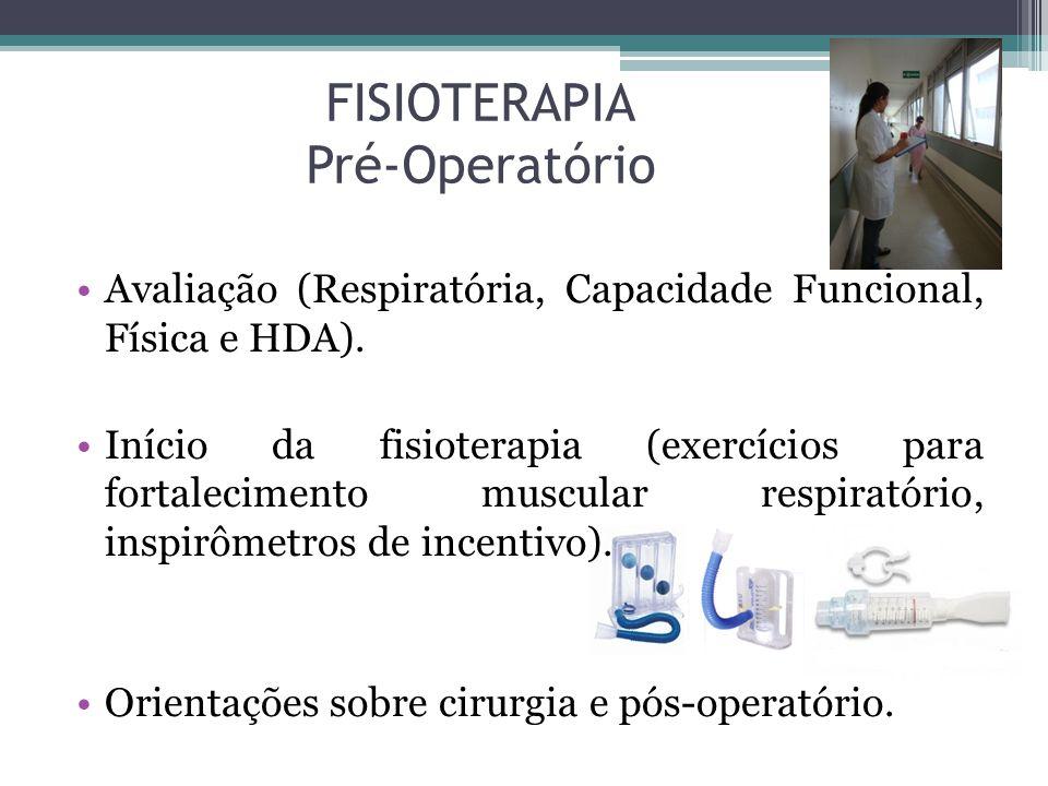 FISIOTERAPIA Pré-Operatório Avaliação (Respiratória, Capacidade Funcional, Física e HDA). Início da fisioterapia (exercícios para fortalecimento muscu