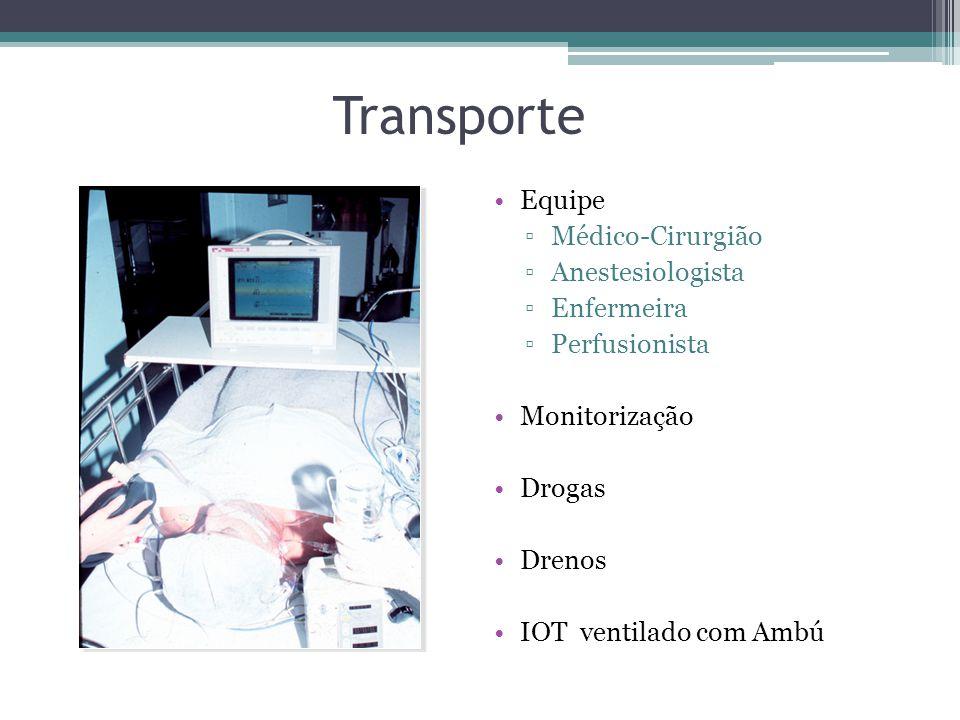 Transporte Equipe Médico-Cirurgião Anestesiologista Enfermeira Perfusionista Monitorização Drogas Drenos IOT ventilado com Ambú