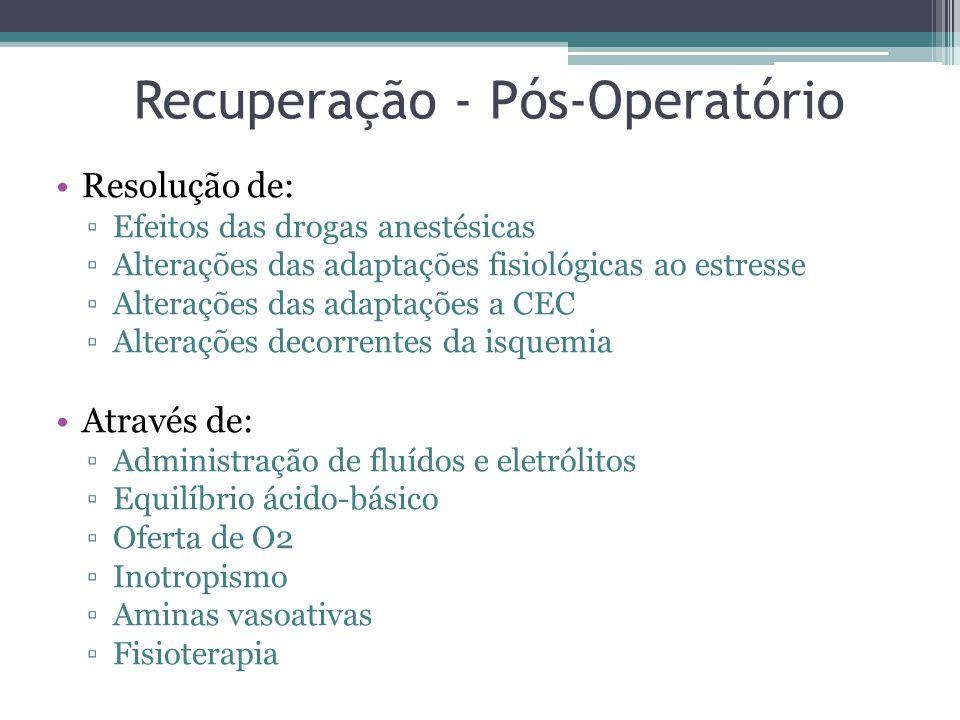 Recuperação - Pós-Operatório Resolução de: Efeitos das drogas anestésicas Alterações das adaptações fisiológicas ao estresse Alterações das adaptações