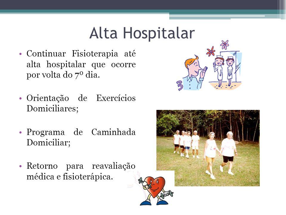 Alta Hospitalar Continuar Fisioterapia até alta hospitalar que ocorre por volta do 7º dia. Orientação de Exercícios Domiciliares; Programa de Caminhad