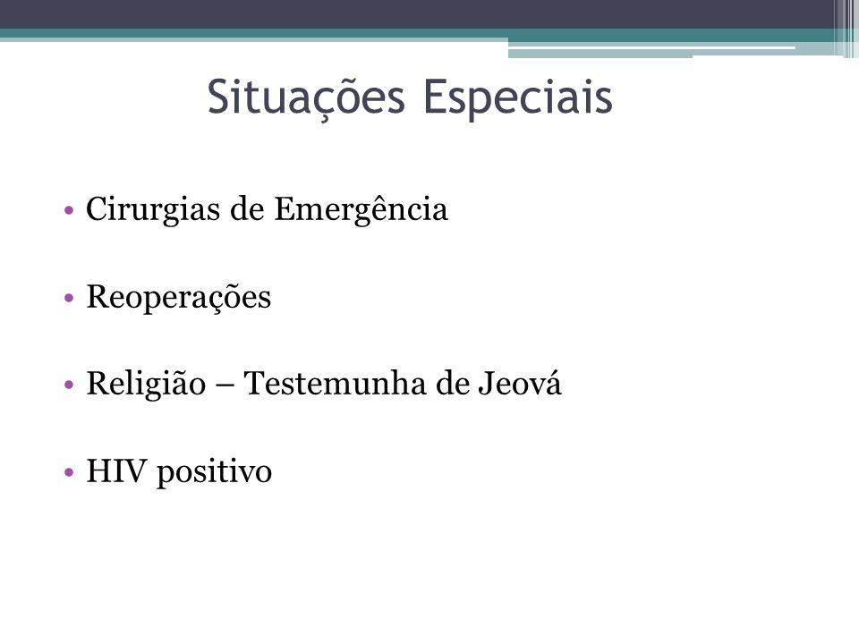 Situações Especiais Cirurgias de Emergência Reoperações Religião – Testemunha de Jeová HIV positivo