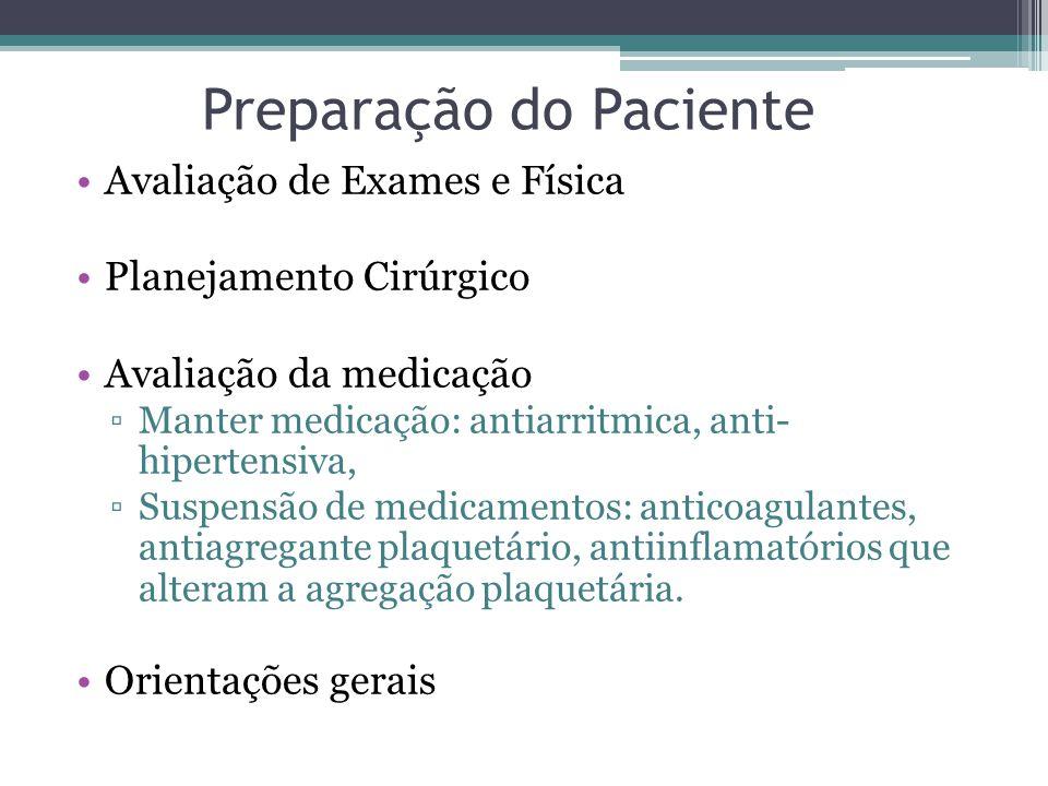 Preparação do Paciente Avaliação de Exames e Física Planejamento Cirúrgico Avaliação da medicação Manter medicação: antiarritmica, anti- hipertensiva,