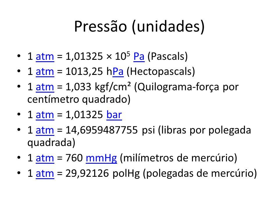 Pressão (unidades) 1 atm = 1,01325 × 10 5 Pa (Pascals)atmPa 1 atm = 1013,25 hPa (Hectopascals)atmPa 1 atm = 1,033 kgf/cm² (Quilograma-força por centím