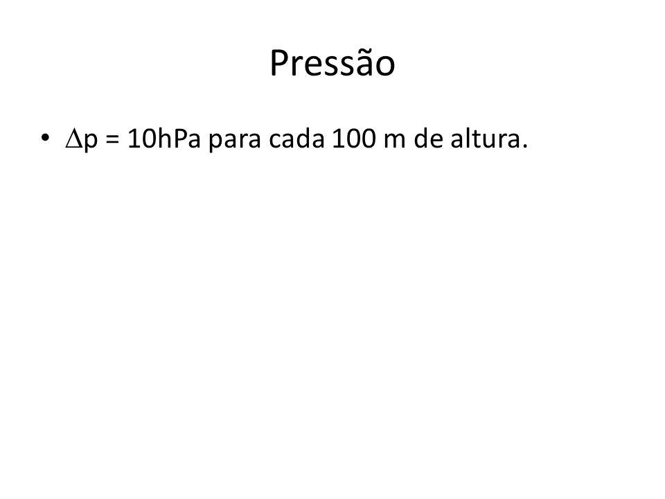 Pressão p = 10hPa para cada 100 m de altura.
