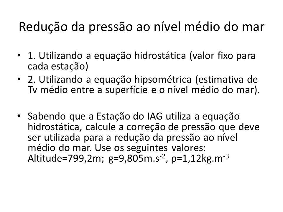 Redução da pressão ao nível médio do mar 1. Utilizando a equação hidrostática (valor fixo para cada estação) 2. Utilizando a equação hipsométrica (est