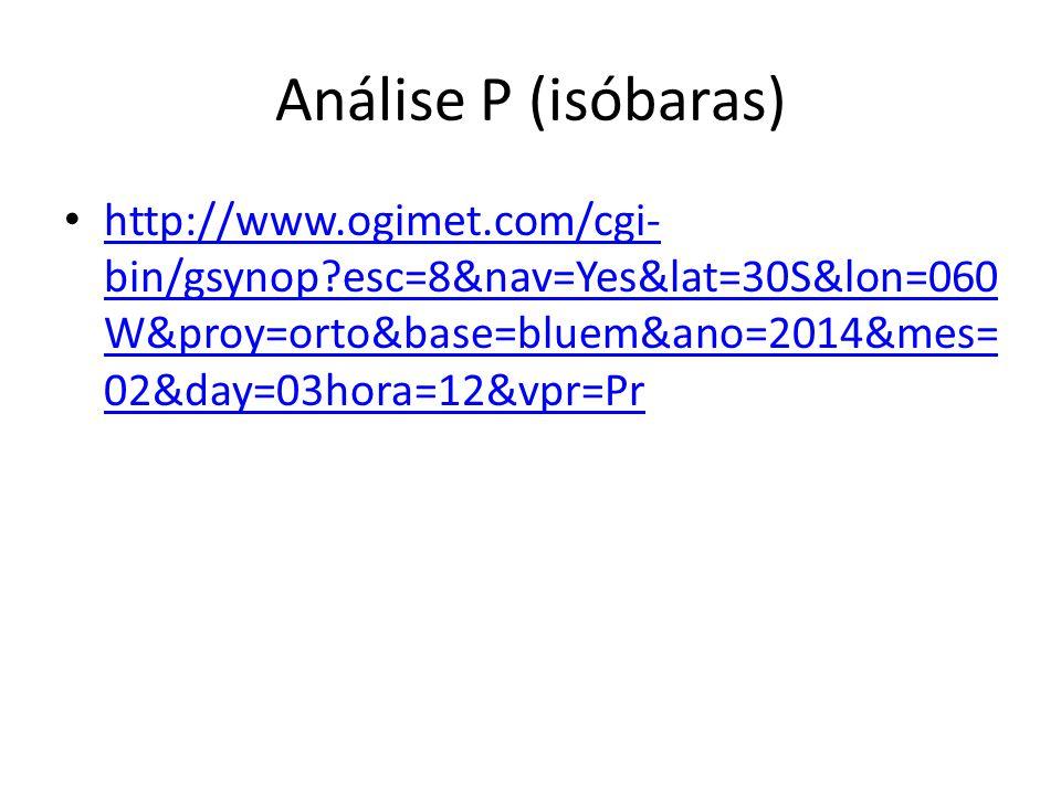 Análise P (isóbaras) http://www.ogimet.com/cgi- bin/gsynop?esc=8&nav=Yes&lat=30S&lon=060 W&proy=orto&base=bluem&ano=2014&mes= 02&day=03hora=12&vpr=Pr