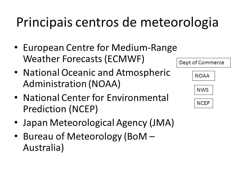 Principais reanálises ERA-40: ECMWF, 40 anos: set1957-ago2002 – ~125km, 60 níveis verticais (0,1hPa) ERA-Interim: ECMWF, 1979-pres – ~80km, 60 níveis verticais (0,1hPa) NCEP/NCAR Reanalysis I: 1948-pres NCEP/DOE Reanalysis II: 1979-pres – 2,5 o x 2,5 o, 17 níveis de pressão (10hPa) NCEP CFSR (Climate Forecast System Reanalysis): 1979-pres – 0.3, 0.5, 1.0, 1.9, and 2.5 degree, níveis: f(variável) http://reanalyses.org/atmosphere/overview-current-reanalyses