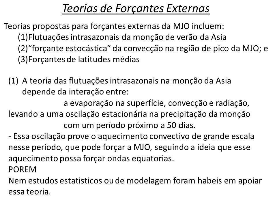 Teorias de Forçantes Externas Teorias propostas para forçantes externas da MJO incluem: (1)Flutuações intrasazonais da monção de verão da Asia (2)forç