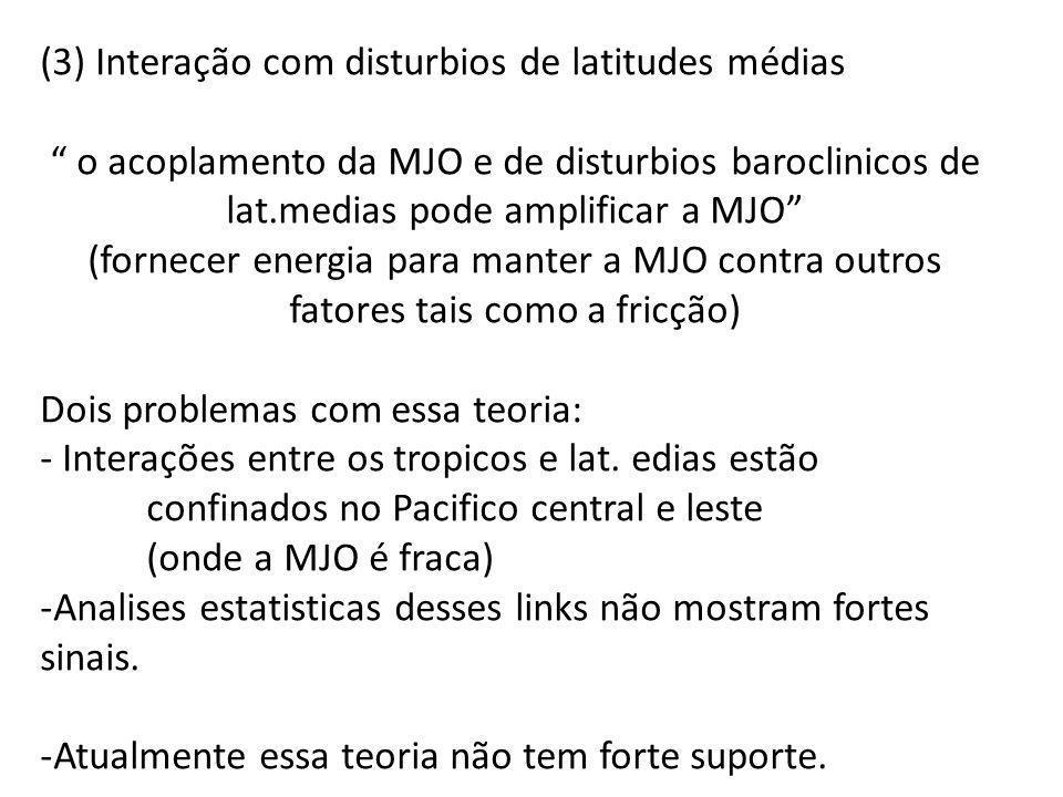 (3) Interação com disturbios de latitudes médias o acoplamento da MJO e de disturbios baroclinicos de lat.medias pode amplificar a MJO (fornecer energ