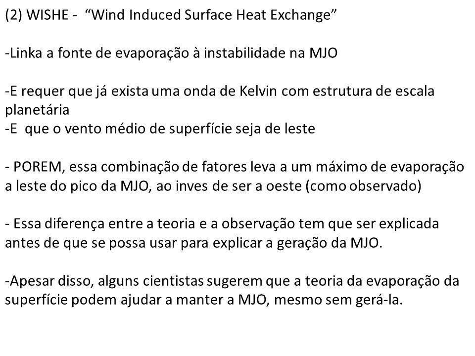 (2) WISHE - Wind Induced Surface Heat Exchange -Linka a fonte de evaporação à instabilidade na MJO -E requer que já exista uma onda de Kelvin com estr