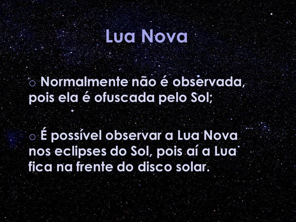 Lua Nova o Normalmente não é observada, pois ela é ofuscada pelo Sol; o É possível observar a Lua Nova nos eclipses do Sol, pois aí a Lua fica na fren