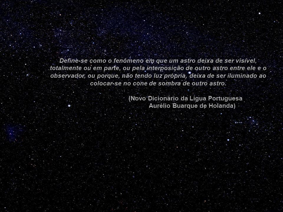 Define-se como o fenômeno em que um astro deixa de ser visível, totalmente ou em parte, ou pela interposição de outro astro entre ele e o observador,