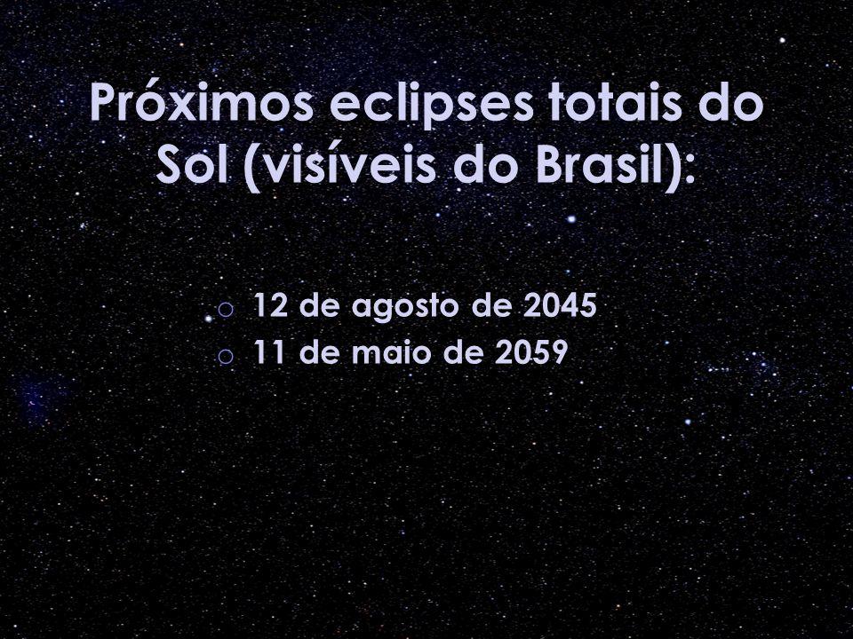 Próximos eclipses totais do Sol (visíveis do Brasil): o 12 de agosto de 2045 o 11 de maio de 2059