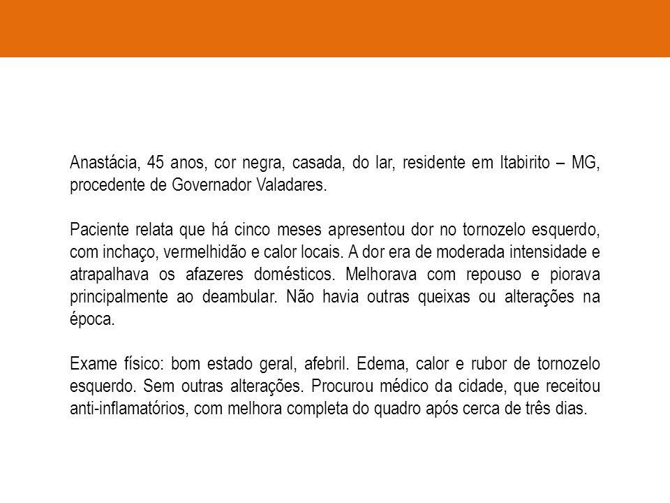 Anastácia, 45 anos, cor negra, casada, do lar, residente em Itabirito – MG, procedente de Governador Valadares. Paciente relata que há cinco meses apr
