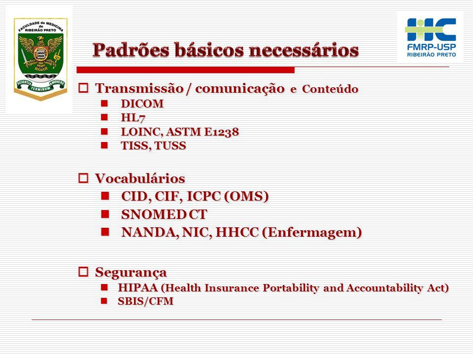 Transmissão / comunicação e Conteúdo Transmissão / comunicação e Conteúdo DICOM DICOM HL7 HL7 LOINC, ASTM E1238 LOINC, ASTM E1238 TISS, TUSS TISS, TUS